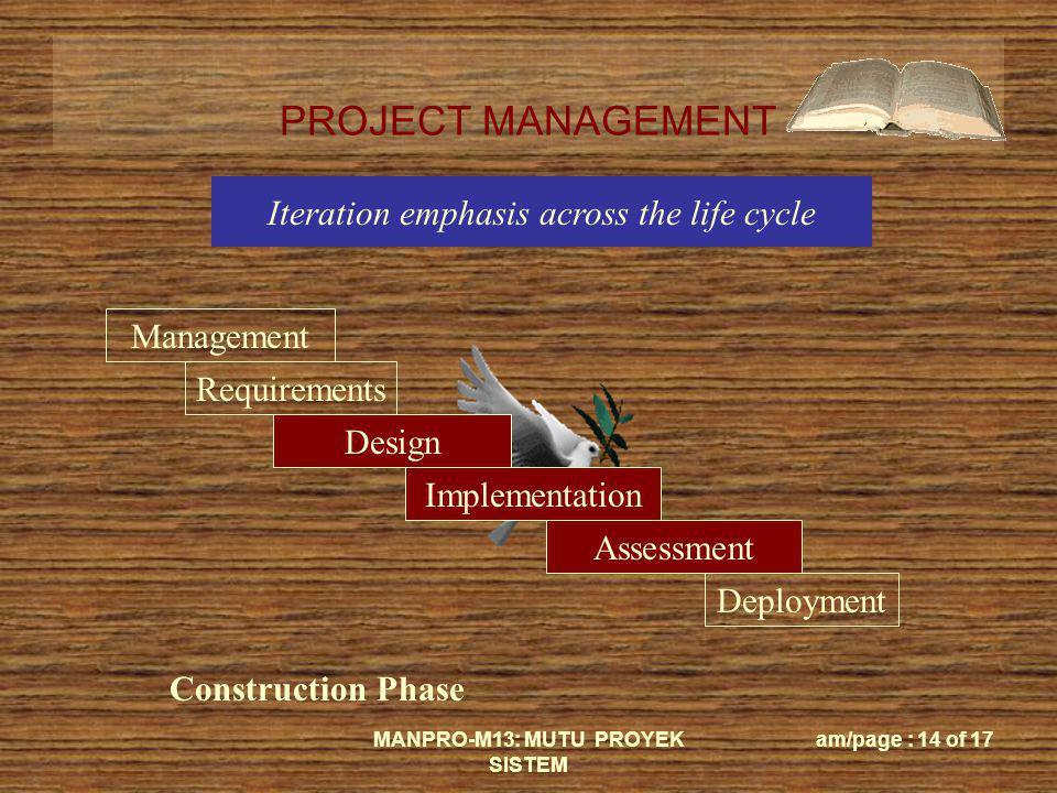 PROJECT MANAGEMENT MANPRO-M13: MUTU PROYEK SISTEM am/page : 14 of 17 Management Requirements Design Implementation Assessment Deployment Construction