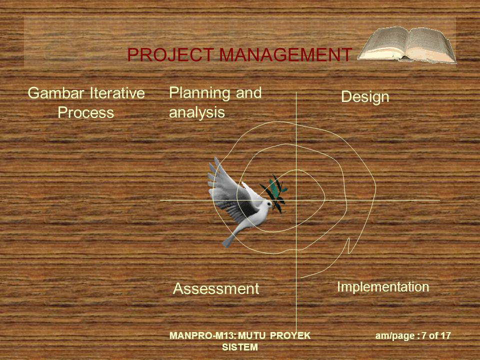 PROJECT MANAGEMENT MANPRO-M13: MUTU PROYEK SISTEM am/page : 7 of 17 Gambar Iterative Process Planning and analysis Design Assessment Implementation