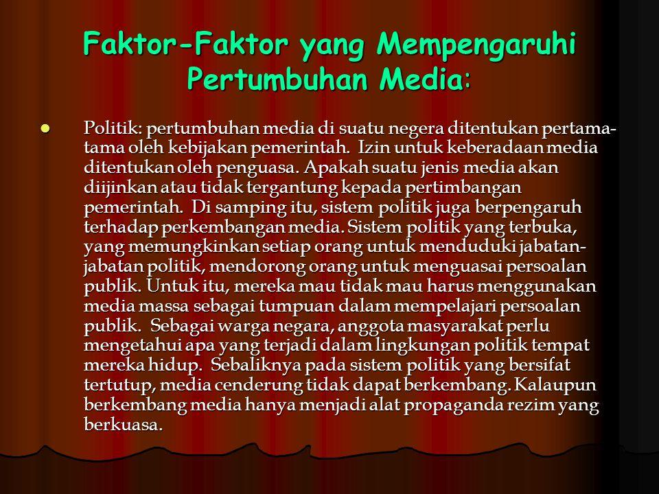 Faktor-Faktor yang Mempengaruhi Pertumbuhan Media: Politik: pertumbuhan media di suatu negera ditentukan pertama- tama oleh kebijakan pemerintah. Izin