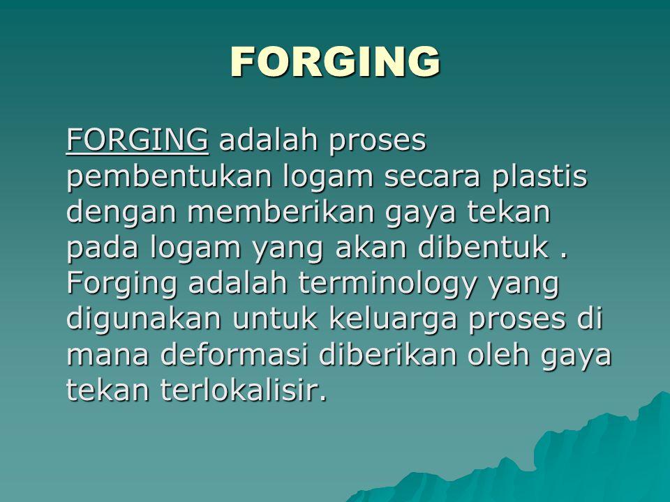 FORGING FORGING adalah proses pembentukan logam secara plastis dengan memberikan gaya tekan pada logam yang akan dibentuk. Forging adalah terminology