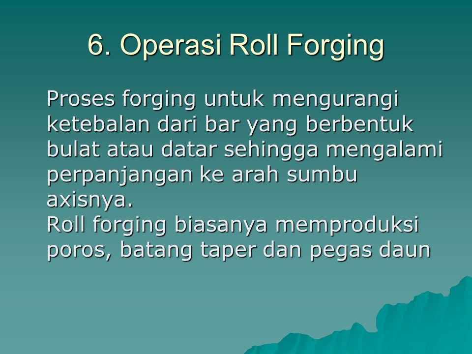 6. Operasi Roll Forging Proses forging untuk mengurangi ketebalan dari bar yang berbentuk bulat atau datar sehingga mengalami perpanjangan ke arah sum
