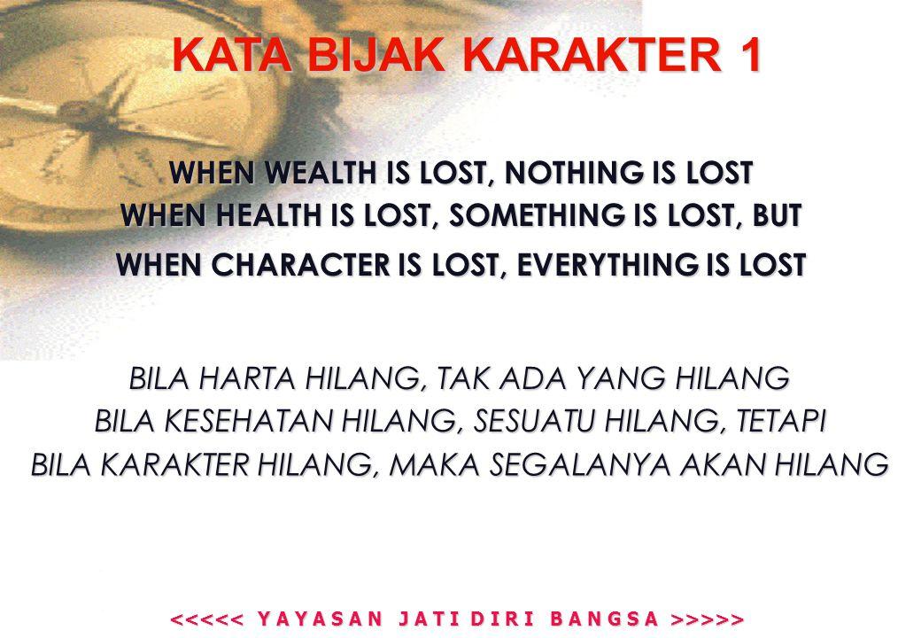 >>>> >>>> KATA BIJAK KARAKTER 1 WHEN WEALTH IS LOST, NOTHING IS LOST WHEN HEALTH IS LOST, SOMETHING IS LOST, BUT WHEN CHARACTER IS LOST, EVERYTHING IS LOST BILA HARTA HILANG, TAK ADA YANG HILANG BILA KESEHATAN HILANG, SESUATU HILANG, TETAPI BILA KARAKTER HILANG, MAKA SEGALANYA AKAN HILANG