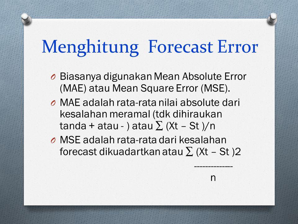 Menghitung Forecast Error O Biasanya digunakan Mean Absolute Error (MAE) atau Mean Square Error (MSE). O MAE adalah rata-rata nilai absolute dari kesa