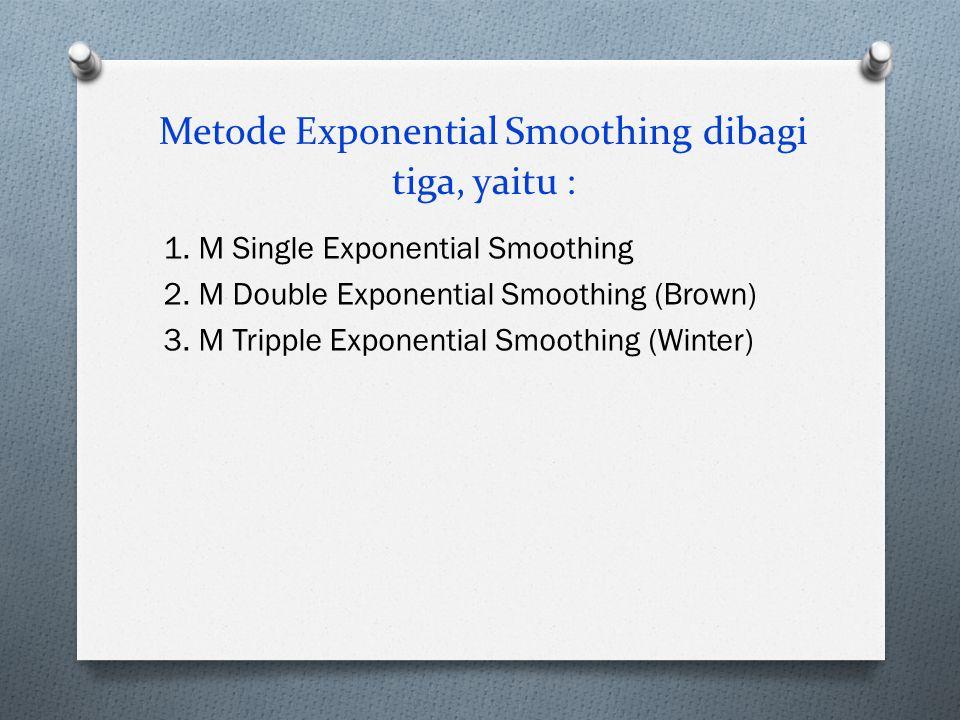 Metode Exponential Smoothing dibagi tiga, yaitu : 1. M Single Exponential Smoothing 2. M Double Exponential Smoothing (Brown) 3. M Tripple Exponential