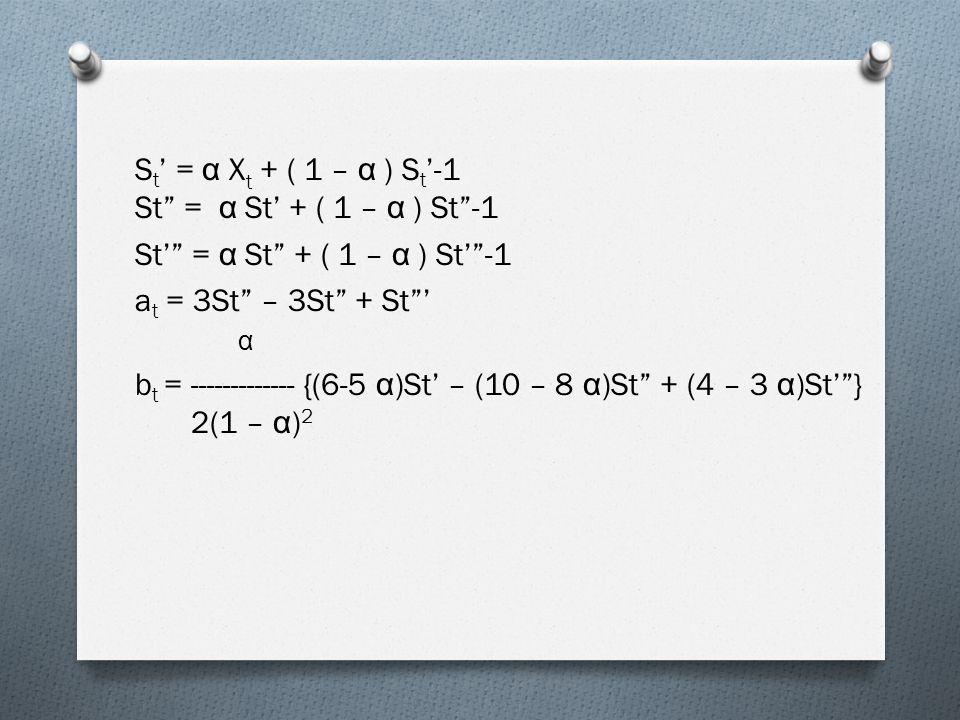 S t ' = α X t + ( 1 – α ) S t '-1 St = α St' + ( 1 – α ) St -1 St' = α St + ( 1 – α ) St' -1 a t = 3St – 3St + St ' α b t = ------------- {(6-5 α )St' – (10 – 8 α )St + (4 – 3 α )St' } 2(1 – α ) 2