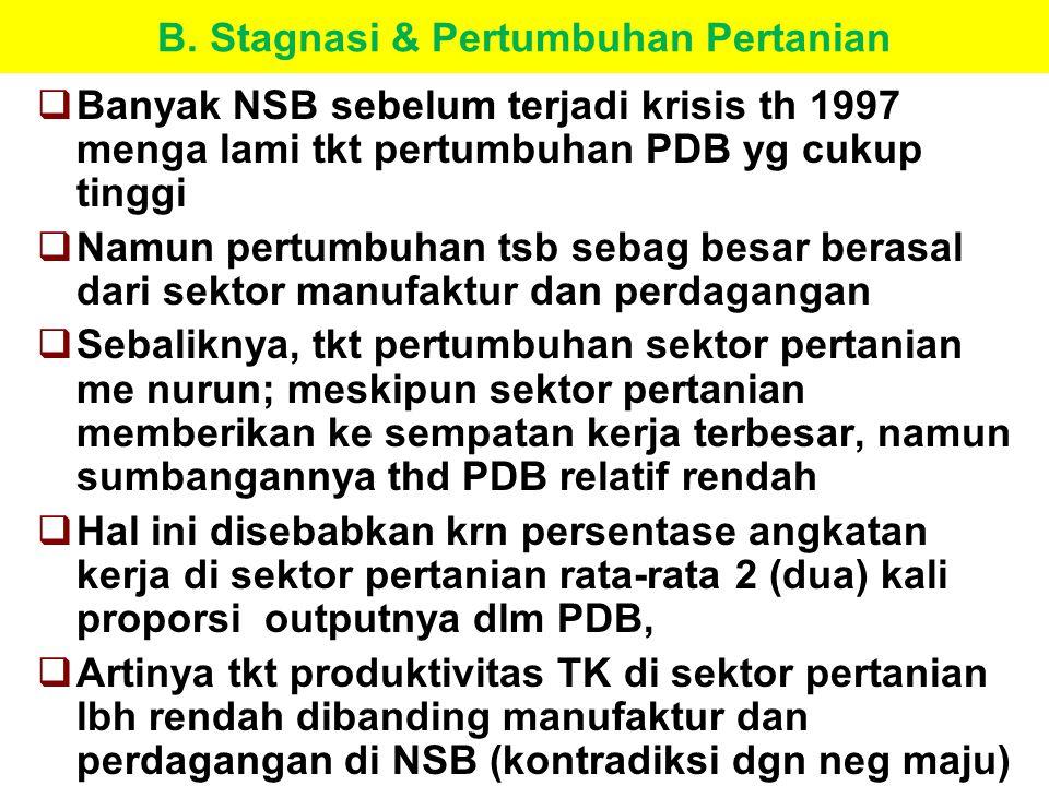 B. Stagnasi & Pertumbuhan Pertanian  Banyak NSB sebelum terjadi krisis th 1997 menga lami tkt pertumbuhan PDB yg cukup tinggi  Namun pertumbuhan tsb
