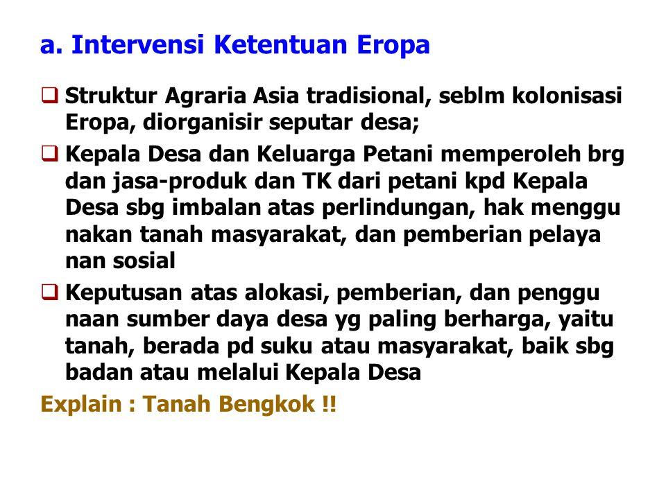 a. Intervensi Ketentuan Eropa  Struktur Agraria Asia tradisional, seblm kolonisasi Eropa, diorganisir seputar desa;  Kepala Desa dan Keluarga Petani