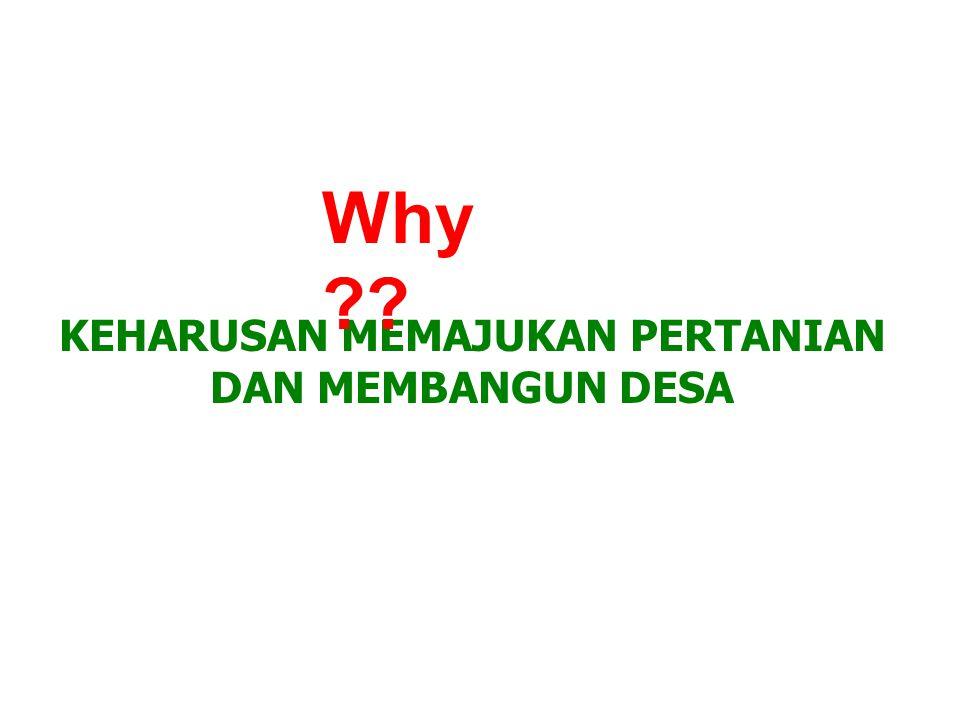 KEHARUSAN MEMAJUKAN PERTANIAN DAN MEMBANGUN DESA Why ??