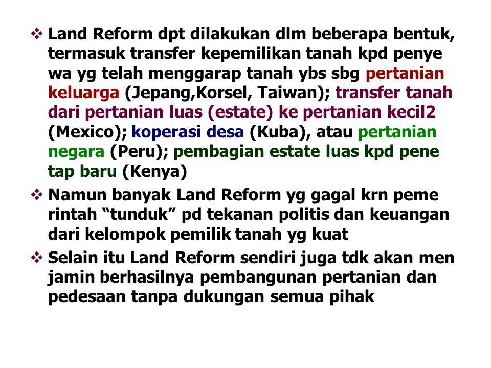  Land Reform dpt dilakukan dlm beberapa bentuk, termasuk transfer kepemilikan tanah kpd penye wa yg telah menggarap tanah ybs sbg pertanian keluarga