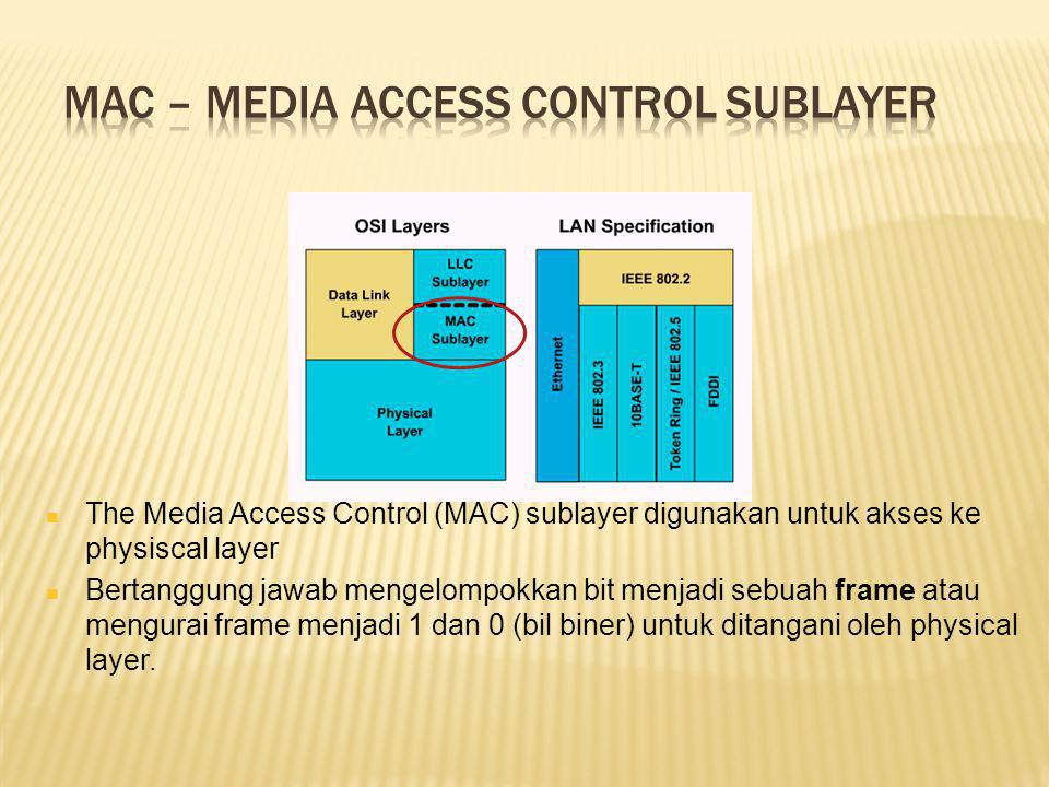 The Media Access Control (MAC) sublayer digunakan untuk akses ke physiscal layer Bertanggung jawab mengelompokkan bit menjadi sebuah frame atau mengurai frame menjadi 1 dan 0 (bil biner) untuk ditangani oleh physical layer.
