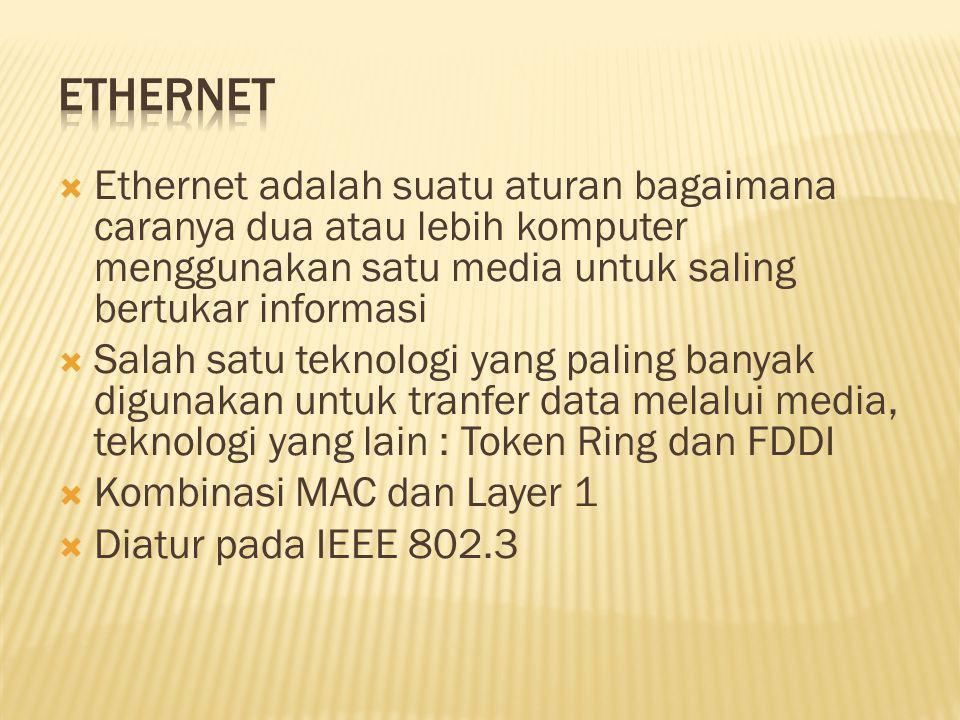  Ethernet adalah suatu aturan bagaimana caranya dua atau lebih komputer menggunakan satu media untuk saling bertukar informasi  Salah satu teknologi yang paling banyak digunakan untuk tranfer data melalui media, teknologi yang lain : Token Ring dan FDDI  Kombinasi MAC dan Layer 1  Diatur pada IEEE 802.3