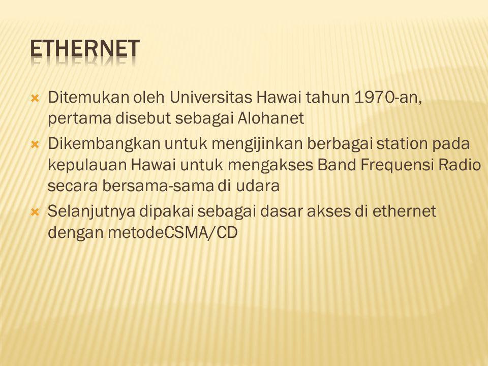 Ditemukan oleh Universitas Hawai tahun 1970-an, pertama disebut sebagai Alohanet  Dikembangkan untuk mengijinkan berbagai station pada kepulauan Hawai untuk mengakses Band Frequensi Radio secara bersama-sama di udara  Selanjutnya dipakai sebagai dasar akses di ethernet dengan metodeCSMA/CD