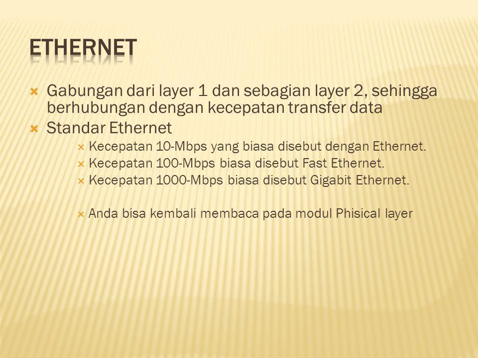  Gabungan dari layer 1 dan sebagian layer 2, sehingga berhubungan dengan kecepatan transfer data  Standar Ethernet  Kecepatan 10-Mbps yang biasa disebut dengan Ethernet.
