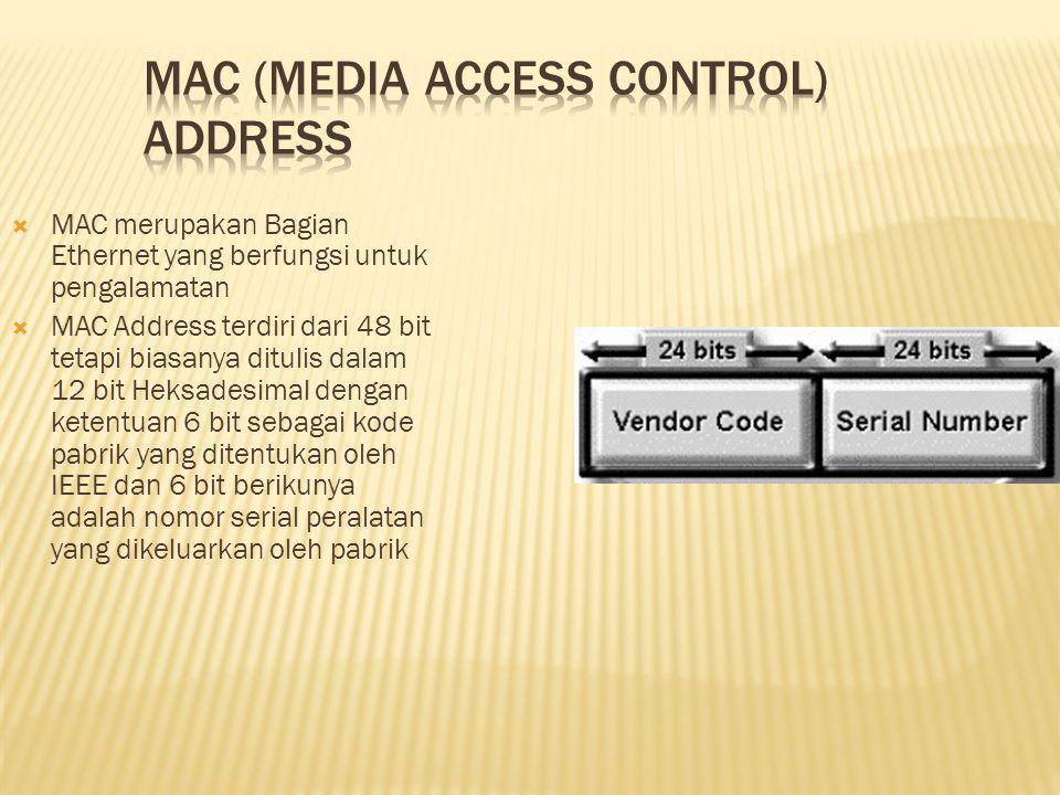  MAC merupakan Bagian Ethernet yang berfungsi untuk pengalamatan  MAC Address terdiri dari 48 bit tetapi biasanya ditulis dalam 12 bit Heksadesimal dengan ketentuan 6 bit sebagai kode pabrik yang ditentukan oleh IEEE dan 6 bit berikunya adalah nomor serial peralatan yang dikeluarkan oleh pabrik