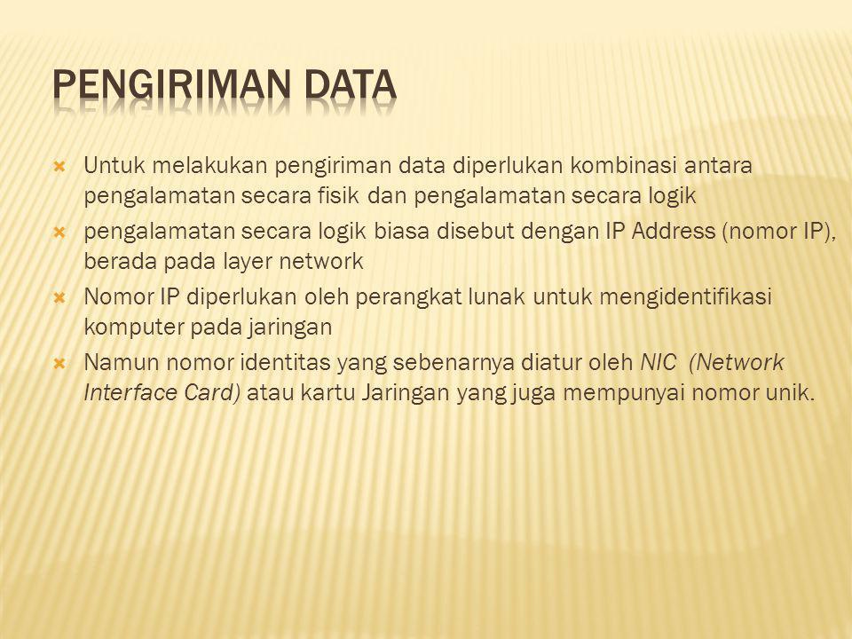  Untuk melakukan pengiriman data diperlukan kombinasi antara pengalamatan secara fisik dan pengalamatan secara logik  pengalamatan secara logik bias