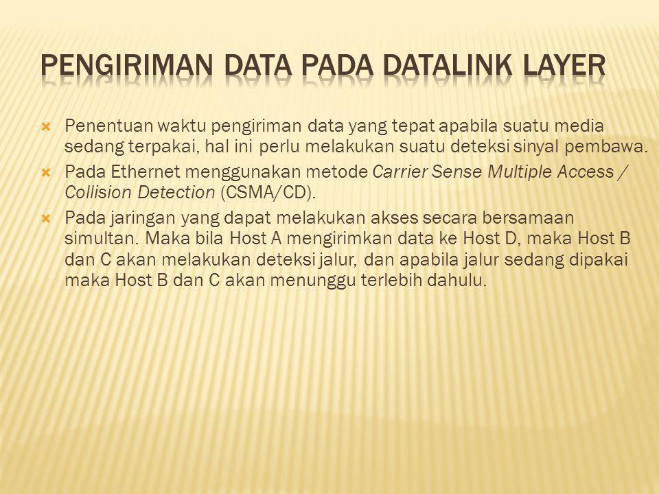  Penentuan waktu pengiriman data yang tepat apabila suatu media sedang terpakai, hal ini perlu melakukan suatu deteksi sinyal pembawa.