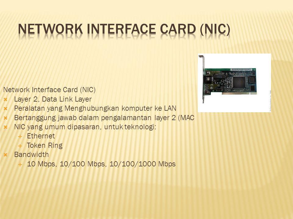 Network Interface Card (NIC)  Layer 2, Data Link Layer  Peralatan yang Menghubungkan komputer ke LAN  Bertanggung jawab dalam pengalamantan layer 2