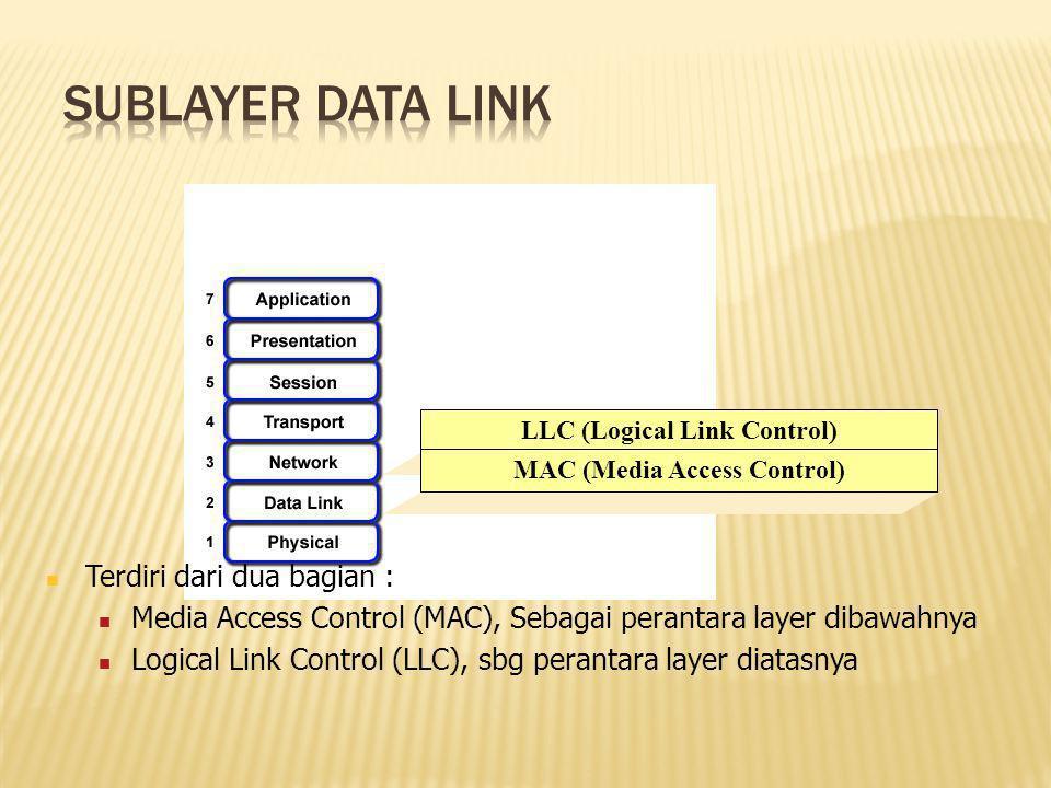 LLC (Logical Link Control) MAC (Media Access Control) Terdiri dari dua bagian : Media Access Control (MAC), Sebagai perantara layer dibawahnya Logical Link Control (LLC), sbg perantara layer diatasnya