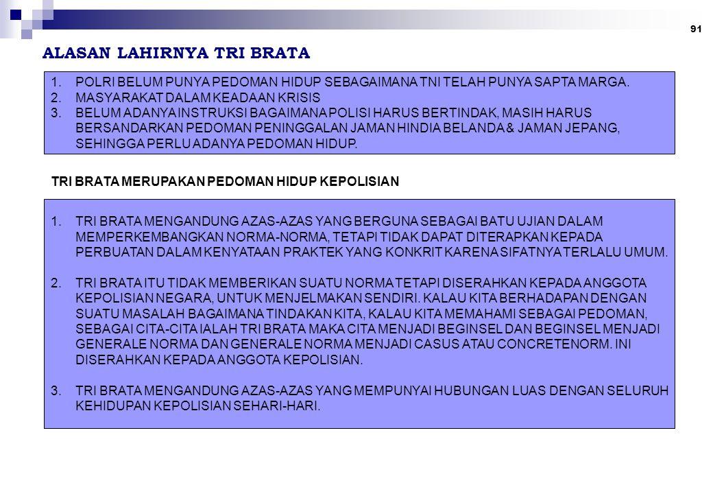 91 ALASAN LAHIRNYA TRI BRATA 1.POLRI BELUM PUNYA PEDOMAN HIDUP SEBAGAIMANA TNI TELAH PUNYA SAPTA MARGA.