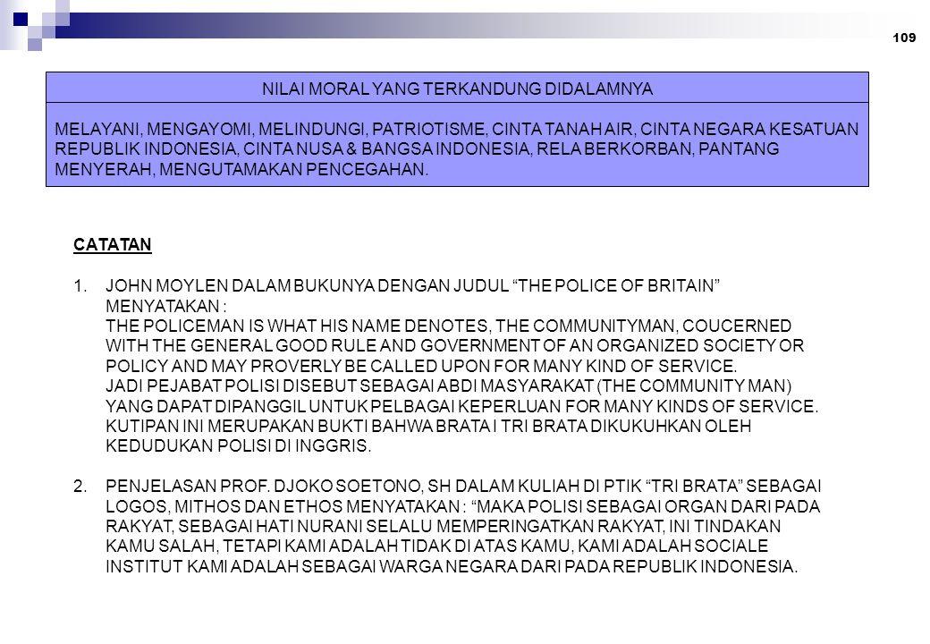 109 NILAI MORAL YANG TERKANDUNG DIDALAMNYA MELAYANI, MENGAYOMI, MELINDUNGI, PATRIOTISME, CINTA TANAH AIR, CINTA NEGARA KESATUAN REPUBLIK INDONESIA, CINTA NUSA & BANGSA INDONESIA, RELA BERKORBAN, PANTANG MENYERAH, MENGUTAMAKAN PENCEGAHAN.