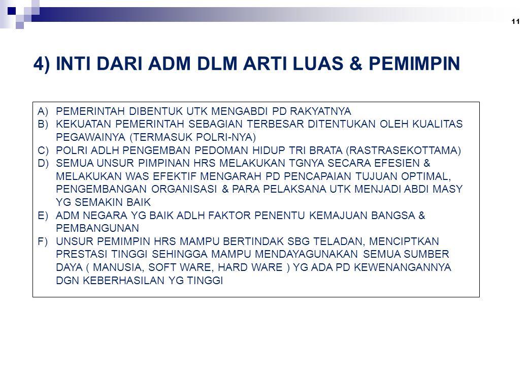 4) INTI DARI ADM DLM ARTI LUAS & PEMIMPIN 11 A)PEMERINTAH DIBENTUK UTK MENGABDI PD RAKYATNYA B)KEKUATAN PEMERINTAH SEBAGIAN TERBESAR DITENTUKAN OLEH KUALITAS PEGAWAINYA (TERMASUK POLRI-NYA) C)POLRI ADLH PENGEMBAN PEDOMAN HIDUP TRI BRATA (RASTRASEKOTTAMA) D)SEMUA UNSUR PIMPINAN HRS MELAKUKAN TGNYA SECARA EFESIEN & MELAKUKAN WAS EFEKTIF MENGARAH PD PENCAPAIAN TUJUAN OPTIMAL, PENGEMBANGAN ORGANISASI & PARA PELAKSANA UTK MENJADI ABDI MASY YG SEMAKIN BAIK E)ADM NEGARA YG BAIK ADLH FAKTOR PENENTU KEMAJUAN BANGSA & PEMBANGUNAN F)UNSUR PEMIMPIN HRS MAMPU BERTINDAK SBG TELADAN, MENCIPTKAN PRESTASI TINGGI SEHINGGA MAMPU MENDAYAGUNAKAN SEMUA SUMBER DAYA ( MANUSIA, SOFT WARE, HARD WARE ) YG ADA PD KEWENANGANNYA DGN KEBERHASILAN YG TINGGI