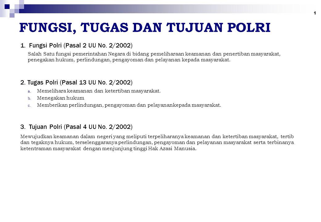 1 FUNGSI, TUGAS DAN TUJUAN POLRI 1. Fungsi Polri (Pasal 2 UU No. 2/2002) 2. Tugas Polri (Pasal 13 UU No. 2/2002) 3. Tujuan Polri (Pasal 4 UU No. 2/200