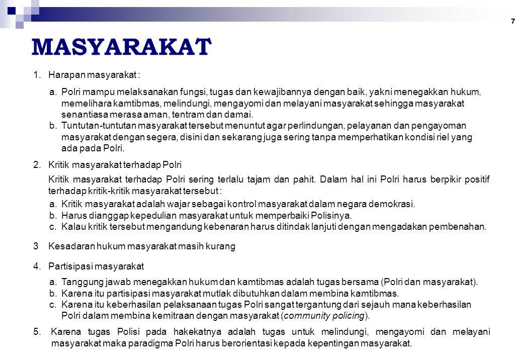 7 MASYARAKAT 1.Harapan masyarakat : a.Polri mampu melaksanakan fungsi, tugas dan kewajibannya dengan baik, yakni menegakkan hukum, memelihara kamtibma