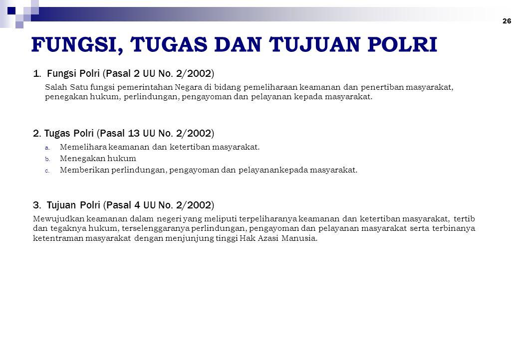 26 FUNGSI, TUGAS DAN TUJUAN POLRI 1. Fungsi Polri (Pasal 2 UU No. 2/2002) 2. Tugas Polri (Pasal 13 UU No. 2/2002) 3. Tujuan Polri (Pasal 4 UU No. 2/20