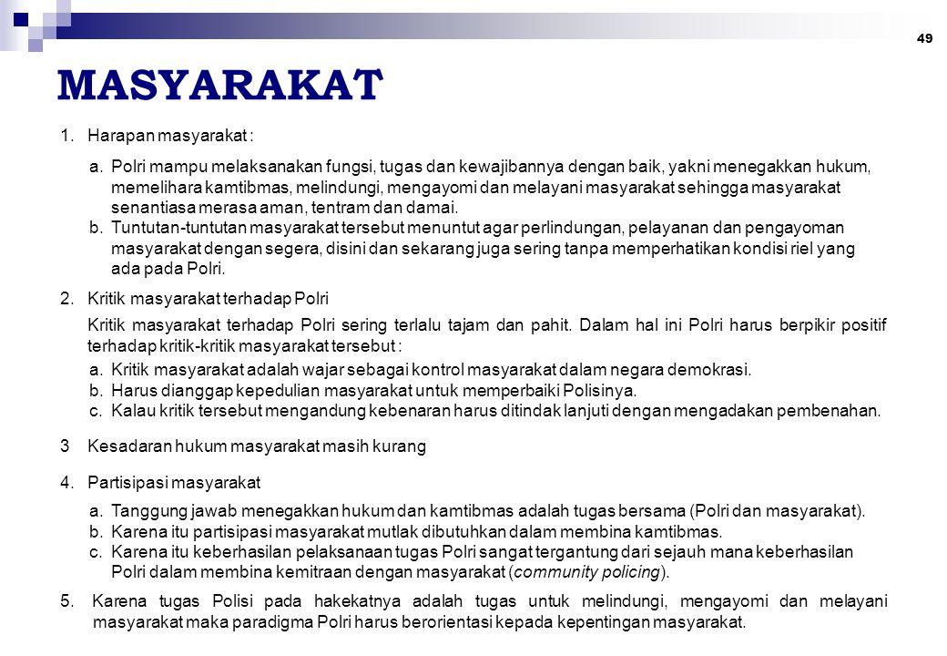 49 MASYARAKAT 1.Harapan masyarakat : a.Polri mampu melaksanakan fungsi, tugas dan kewajibannya dengan baik, yakni menegakkan hukum, memelihara kamtibm