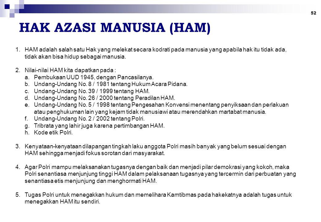 52 HAK AZASI MANUSIA (HAM) 1.HAM adalah salah satu Hak yang melekat secara kodrati pada manusia yang apabila hak itu tidak ada, tidak akan bisa hidup