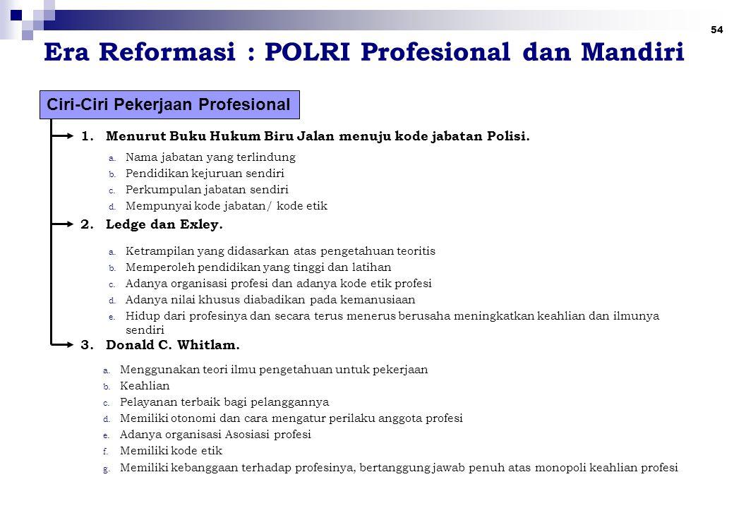 54 Era Reformasi : POLRI Profesional dan Mandiri Ciri-Ciri Pekerjaan Profesional 1.Menurut Buku Hukum Biru Jalan menuju kode jabatan Polisi.