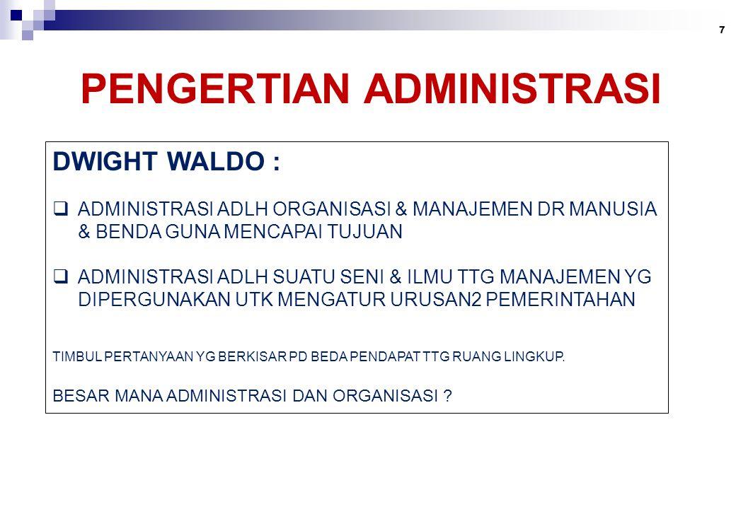 PENGERTIAN ADMINISTRASI 7 DWIGHT WALDO :  ADMINISTRASI ADLH ORGANISASI & MANAJEMEN DR MANUSIA & BENDA GUNA MENCAPAI TUJUAN  ADMINISTRASI ADLH SUATU