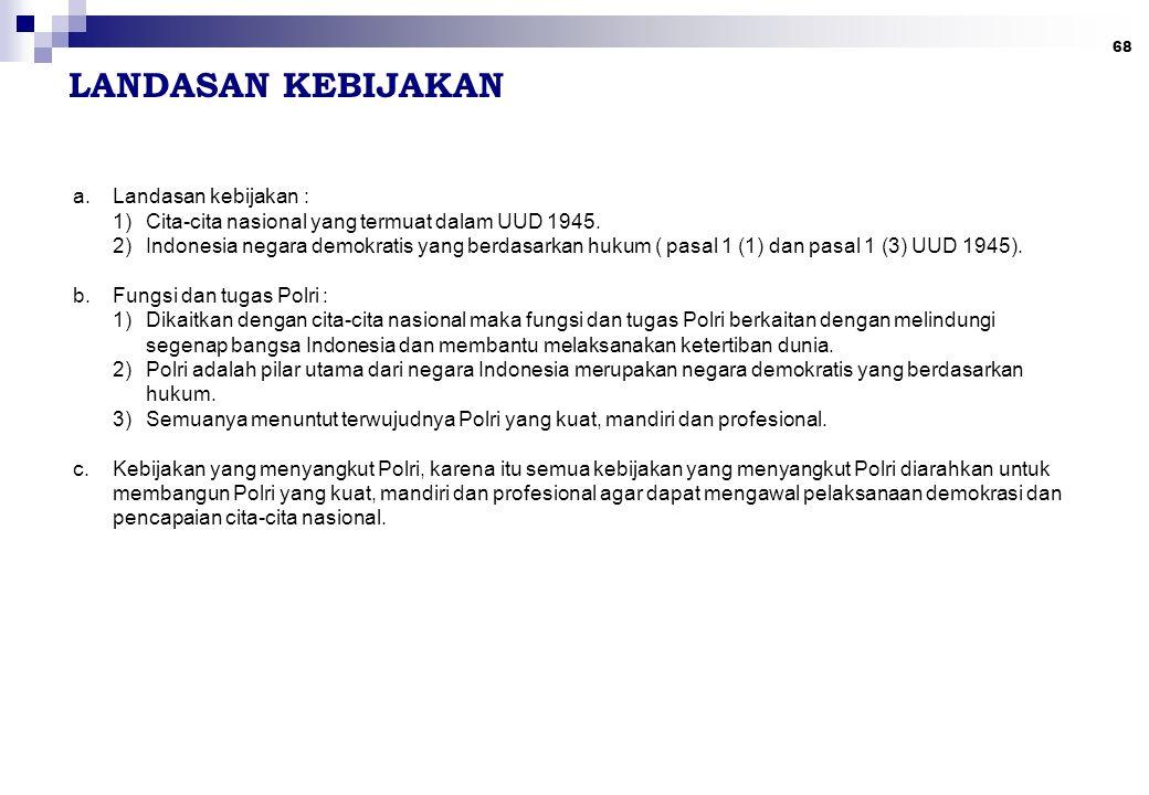 68 LANDASAN KEBIJAKAN a.Landasan kebijakan : 1)Cita-cita nasional yang termuat dalam UUD 1945. 2)Indonesia negara demokratis yang berdasarkan hukum (