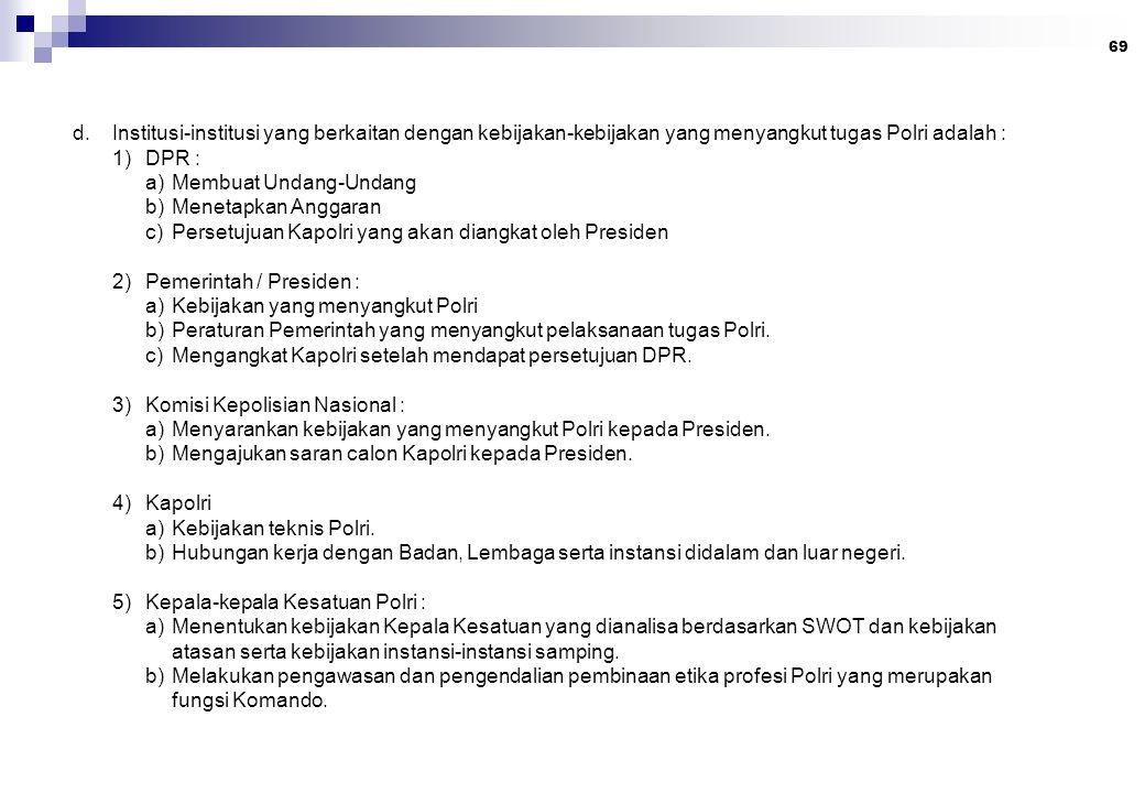 69 d.Institusi-institusi yang berkaitan dengan kebijakan-kebijakan yang menyangkut tugas Polri adalah : 1)DPR : a)Membuat Undang-Undang b)Menetapkan A