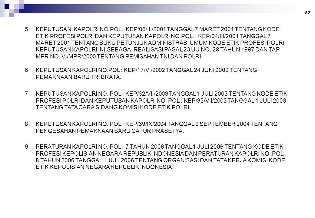 82 5. KEPUTUSAN KAPOLRI NO.POL.: KEP/05/III/2001 TANGGAL 7 MARET 2001 TENTANG KODE ETIK PROFESI POLRI DAN KEPUTUSAN KAPOLRI NO.POL. : KEP/04/III/2001