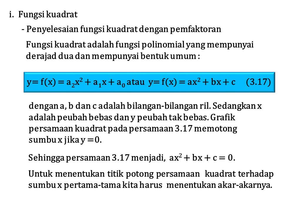 Fungsi kuadrat adalah fungsi polinomial yang mempunyai derajad dua dan mempunyai bentuk umum : i. Fungsi kuadrat - Penyelesaian fungsi kuadrat dengan
