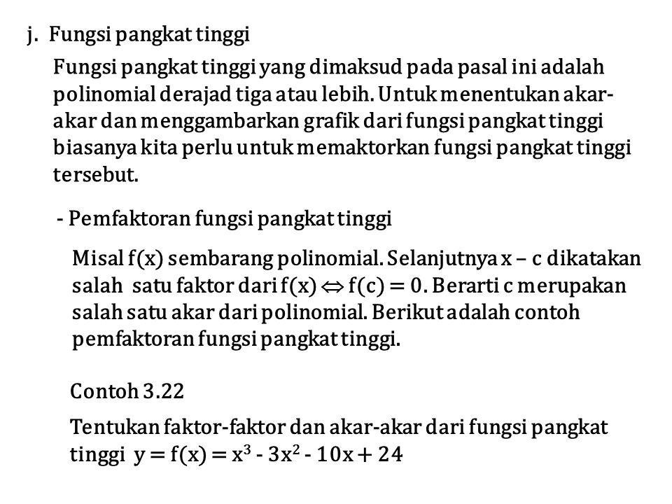 j. Fungsi pangkat tinggi Fungsi pangkat tinggi yang dimaksud pada pasal ini adalah polinomial derajad tiga atau lebih. Untuk menentukan akar- akar dan