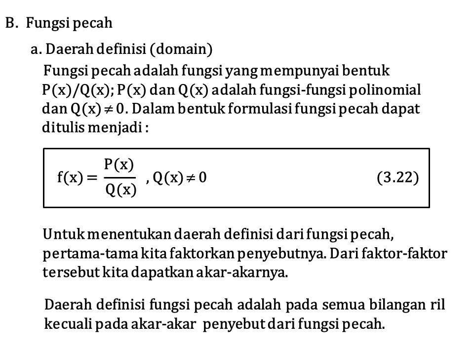 Fungsi pecah adalah fungsi yang mempunyai bentuk P(x)/Q(x); P(x) dan Q(x) adalah fungsi-fungsi polinomial dan Q(x)  0. Dalam bentuk formulasi fungsi