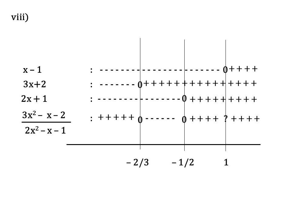 x – 1: - - - - - - - - - - - - - - - - - - - - - - - + + 3x+2: - - - - - - - + + + + + + + + + + + + + + + 2x + 1:- - - - - - - - + + + + + + + + + :