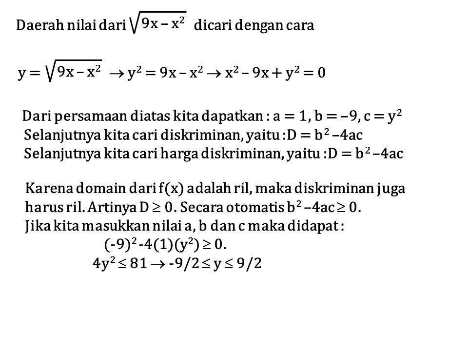 Daerah nilai dari dicari dengan cara 9x – x 2 y =  y 2 = 9x – x 2  x 2 – 9x + y 2 = 0 Dari persamaan diatas kita dapatkan : a = 1, b = –9, c = y 2 S