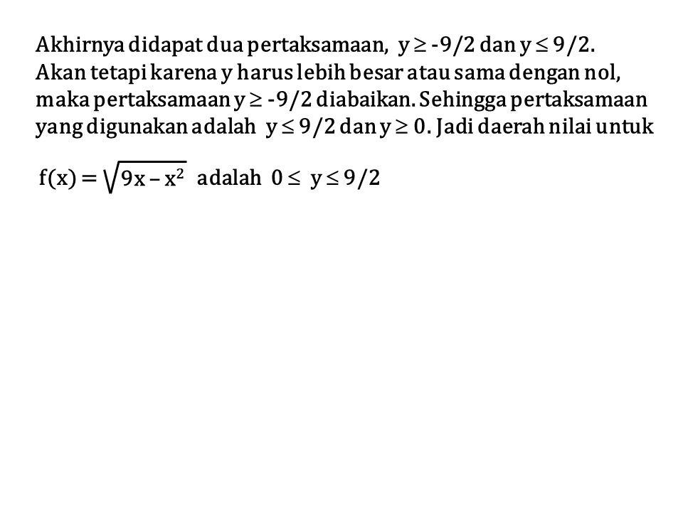 Akhirnya didapat dua pertaksamaan, y  -9/2 dan y  9/2. Akan tetapi karena y harus lebih besar atau sama dengan nol, maka pertaksamaan y  -9/2 diaba