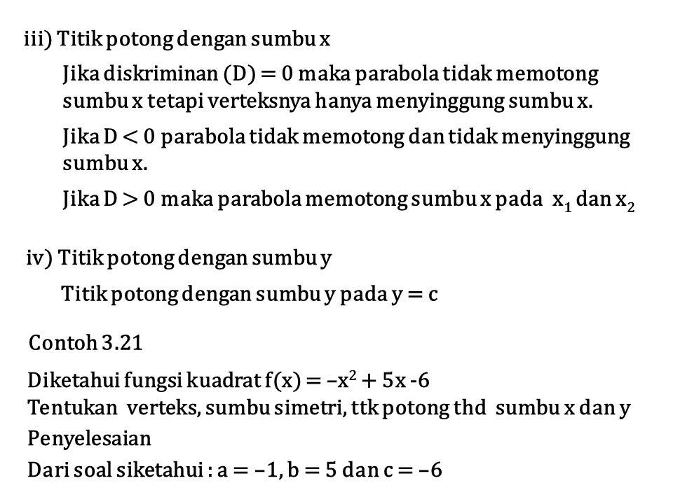 h = –b/2a = – (5/–2) = 5/2 k = c – b 2 /4a = – 6 – 5 2 /4 (–1) = – 6 +25/4 = 1/4 Verteks = V (h,k) = V (5/2, 1/4) Sumbu simetri x = h = 5/2 Titik potong terhadap sumbu x  y = 0 x 2 + 5x – 6 = –( x – 3)(x – 2) = 0  x 1 = 3 ; x 2 = 2 Jadi parabola memotong sum,bu x pada x = 2 dan x = 3 Titik potong terhadap sumbu y  x = 0.