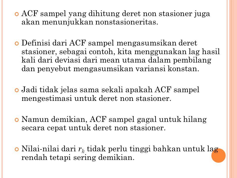 ACF sampel yang dihitung deret non stasioner juga akan menunjukkan nonstasioneritas. Definisi dari ACF sampel mengasumsikan deret stasioner, sebagai c