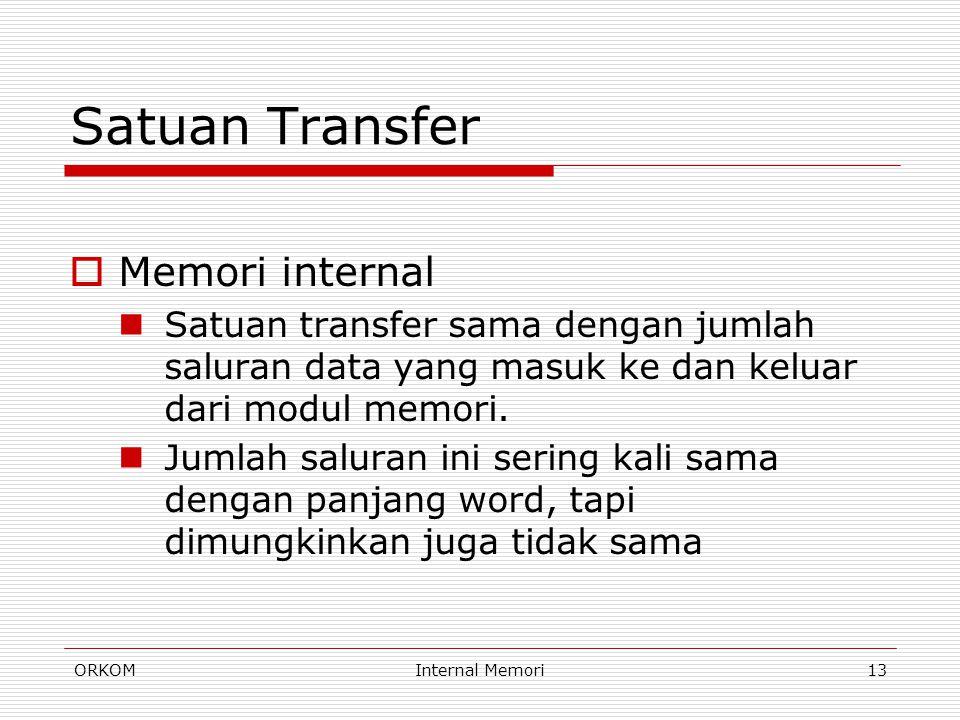 ORKOMInternal Memori13 Satuan Transfer  Memori internal Satuan transfer sama dengan jumlah saluran data yang masuk ke dan keluar dari modul memori. J