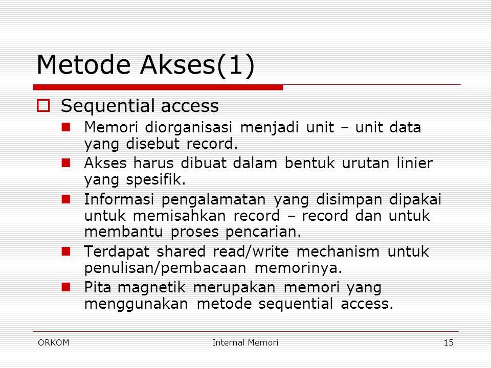 ORKOMInternal Memori15 Metode Akses(1)  Sequential access Memori diorganisasi menjadi unit – unit data yang disebut record. Akses harus dibuat dalam