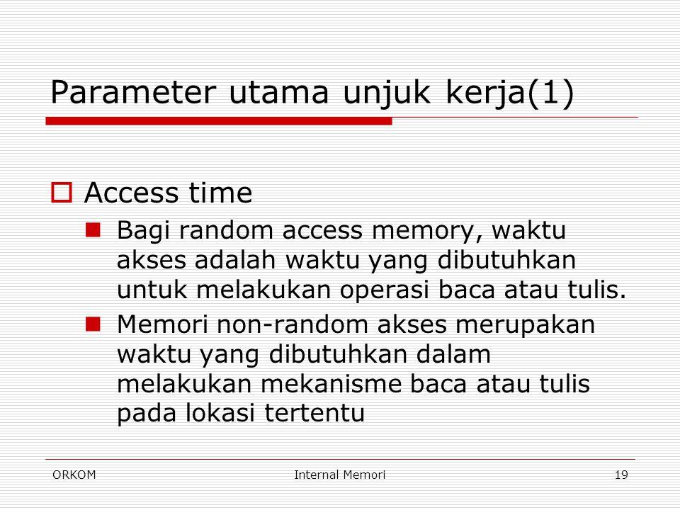 ORKOMInternal Memori19 Parameter utama unjuk kerja(1)  Access time Bagi random access memory, waktu akses adalah waktu yang dibutuhkan untuk melakuka