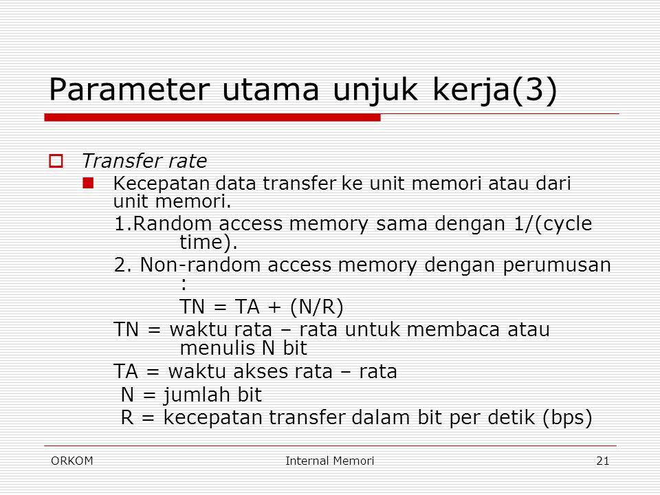 ORKOMInternal Memori21 Parameter utama unjuk kerja(3)  Transfer rate Kecepatan data transfer ke unit memori atau dari unit memori. 1.Random access me