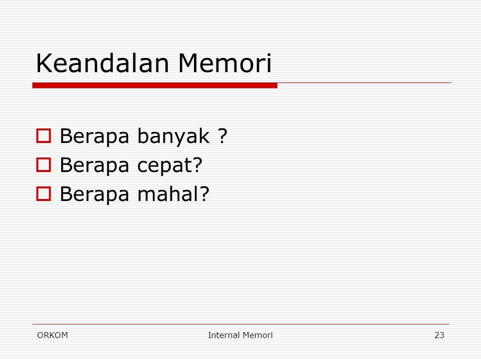 ORKOMInternal Memori23 Keandalan Memori  Berapa banyak ?  Berapa cepat?  Berapa mahal?