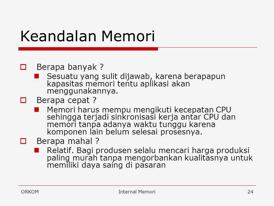 ORKOMInternal Memori24 Keandalan Memori  Berapa banyak ? Sesuatu yang sulit dijawab, karena berapapun kapasitas memori tentu aplikasi akan menggunaka