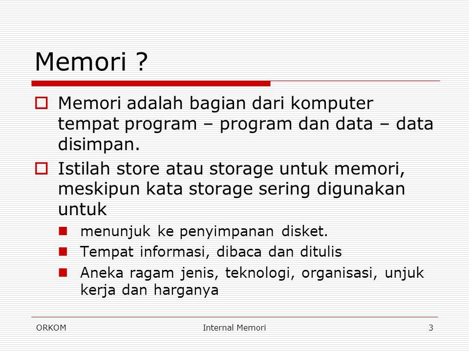 ORKOMInternal Memori3 Memori ?  Memori adalah bagian dari komputer tempat program – program dan data – data disimpan.  Istilah store atau storage un